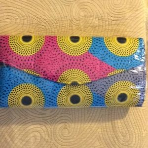 Handbags - New, Large authentic African print clutch purse